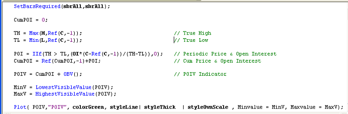 Figure 3: POIV AMIBroker Code
